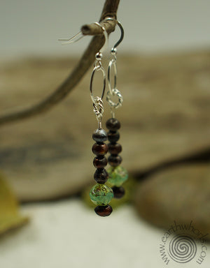Agate, Pearl & Sterling Silver Earrings - EarthWhorls, LLC