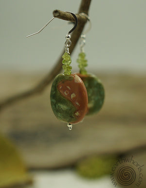 African Clay & Peridot Earrings - EarthWhorls, LLC
