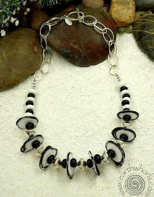 Handmade Glass & Sterling Silver Necklace - EarthWhorls, LLC