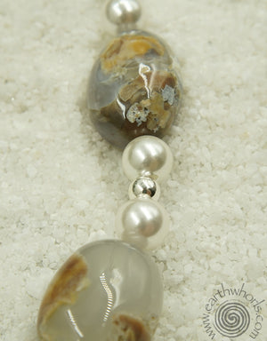 Chalcedony, Pearl & Sterling Silver Necklace - EarthWhorls, LLC