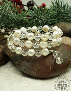 Pearl & Crystal Flexible Bracelet - EarthWhorls, LLC