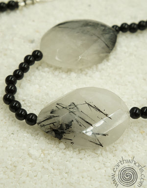 Quartz & Onyx Hill Tribe Silver Necklace