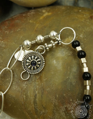 Quartz & Onyx Hill Tribe Silver Necklace - EarthWhorls, LLC