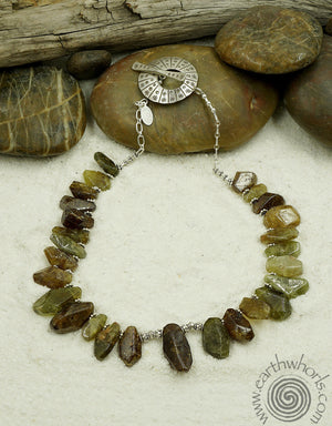 Garnet & Silver Necklace - EarthWhorls, LLC