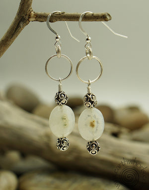 Solar Quartz & Silver Earrings