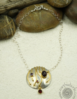 Sterling Silver & Gemstone Pendant Necklace - EarthWhorls, LLC