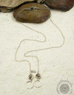 Sterling Silver & Pearl Lariat Necklace - EarthWhorls, LLC