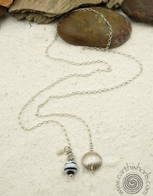 Handmade Glass & Silver Lariat Necklace - EarthWhorls, LLC