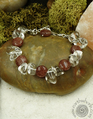 Crystal, Natural Stone & Silver Bracelet - EarthWhorls, LLC