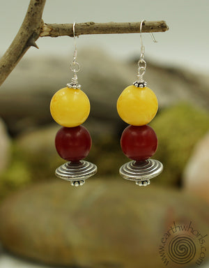 African Amber & Silver Earrings - EarthWhorls, LLC