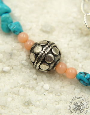 Coral, Turquoise & Silver Necklace - EarthWhorls, LLC