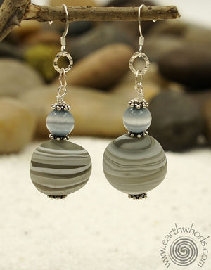Handmade Glass & Cat's Eye Earrings - EarthWhorls, LLC