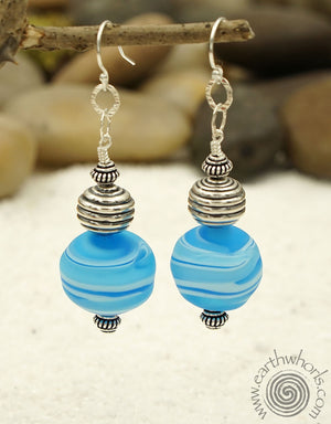 Blue & Silver Handmade Glass Earrings - EarthWhorls, LLC