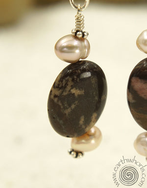 Jasper, Pearl & Silver Earrings