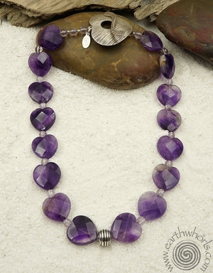 Amethyst Heart Shaped Sterling Necklace - EarthWhorls, LLC