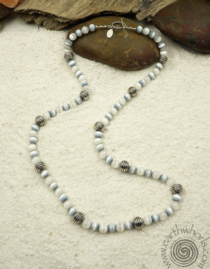 Cat's Eye & Silver Necklace - EarthWhorls, LLC