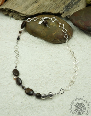 Jasper, Pearl & Silver Necklace