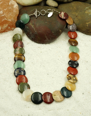 Mixed Gemstone & Sterling Silver Necklace