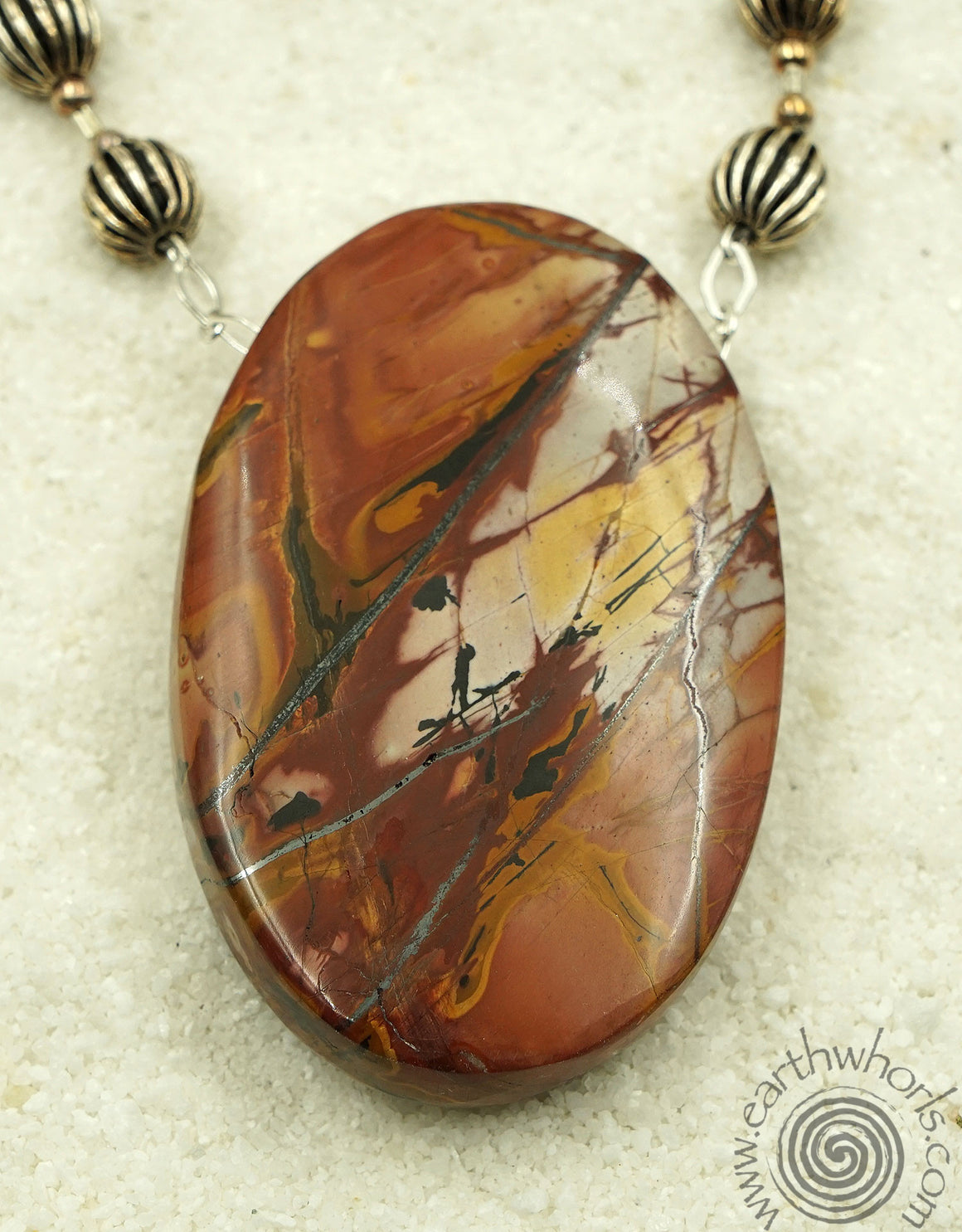 Agate & Sterling Silver Pendant Necklace - EarthWhorls, LLC