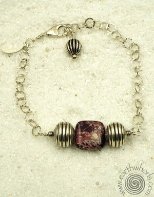 Purple Jasper & Sterling Silver Bracelet