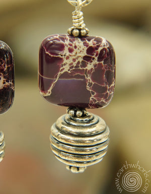 Purple Jasper & Sterling Silver Earrings