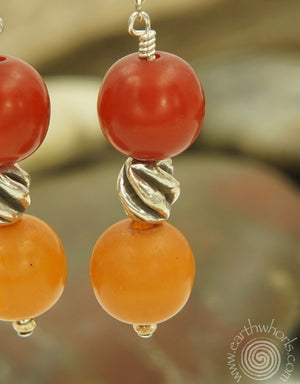African Amber & Sterling Silver Earrings - EarthWhorls, LLC