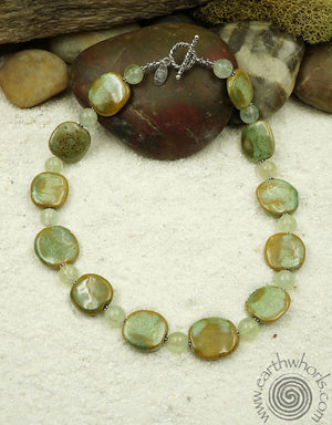 African Clay & Moonstone Necklace - EarthWhorls, LLC