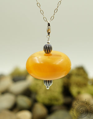 African Amber Removeable Pendant Necklace - EarthWhorls, LLC