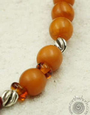 African Amber & Silver Necklace - EarthWhorls, LLC