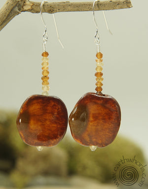African Clay & Carnelian Earrings - EarthWhorls, LLC