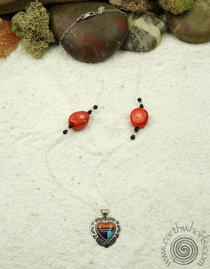 Vintage Necklace with Coral & Sterling Silver - EarthWhorls, LLC