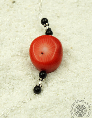 Vintage Necklace with Coral & Sterling Silver