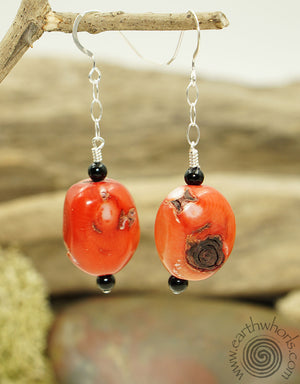 Coral & Onyx Earrings - EarthWhorls, LLC