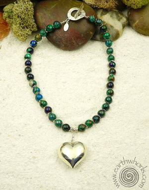 Lapis & Sterling Silver Heart Necklace