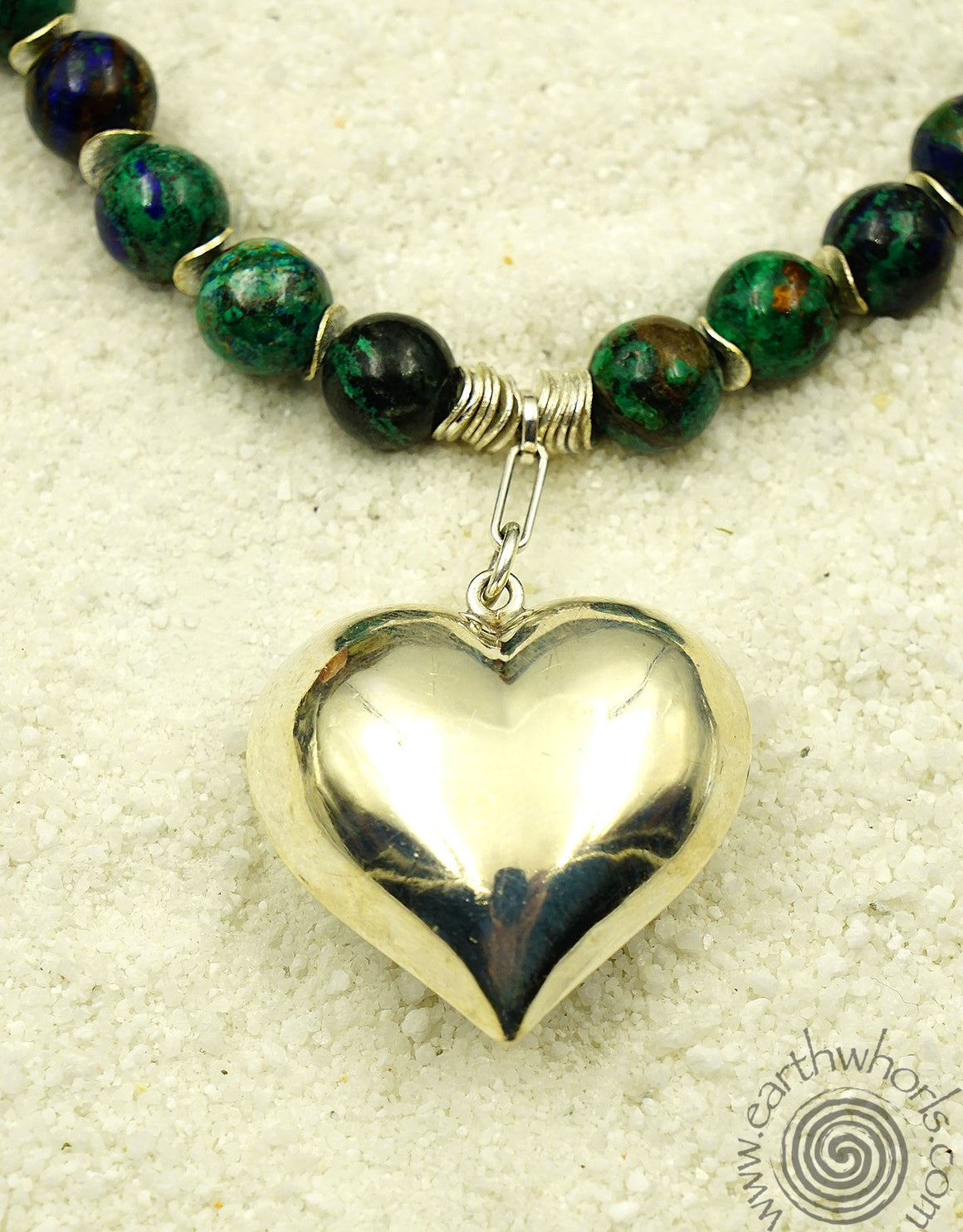 Lapis & Sterling Silver Heart Necklace - EarthWhorls, LLC