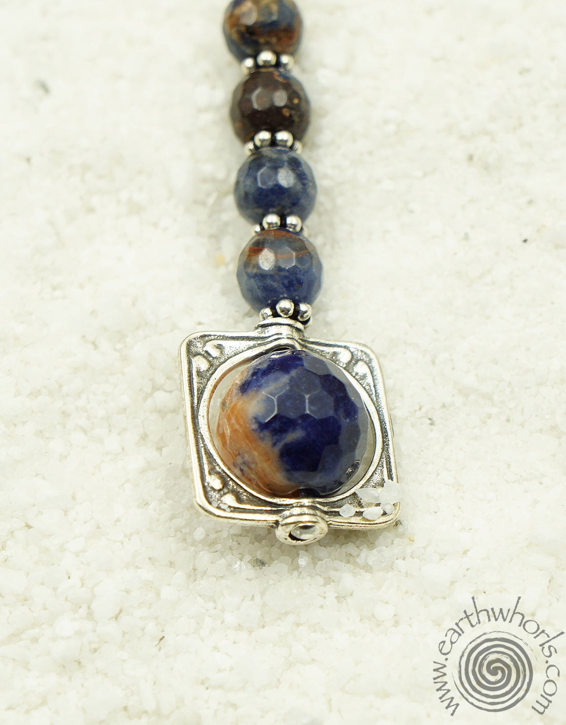 Lapis, Chakra Stone & Sterling Silver Necklace - EarthWhorls, LLC