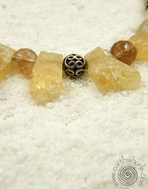 Citrine, Rutilated Quartz, Hill Tribe & Sterling Silver Necklace - EarthWhorls, LLC