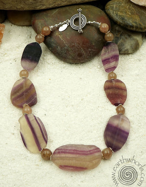 Fluorite, Muscovite & Silver Necklace - EarthWhorls, LLC