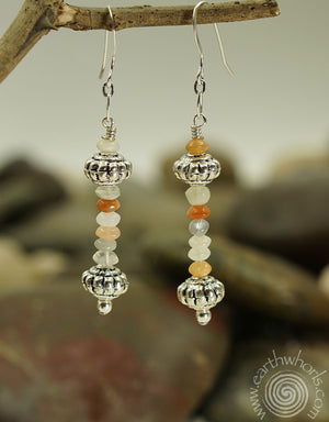 Moonstone & Sterling Silver Earrings - EarthWhorls, LLC