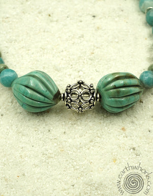 Handmade Glass, Amazonite & Silver Necklace - EarthWhorls, LLC