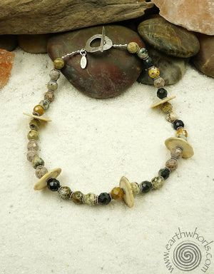 Jasper, Clay & Sterling Silver Necklace
