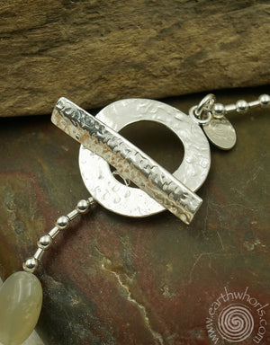 Moonstone & Sterling Silver Necklace - EarthWhorls, LLC