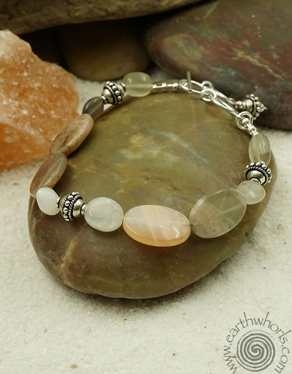 Peach Moonstone Bracelet - EarthWhorls, LLC