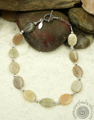 Moonstone & Sterling Necklace - EarthWhorls, LLC