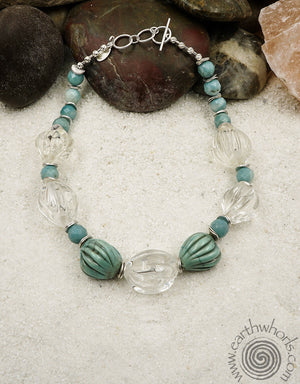 Handmade Glass, Agate & Sterling Silver Necklace - EarthWhorls, LLC