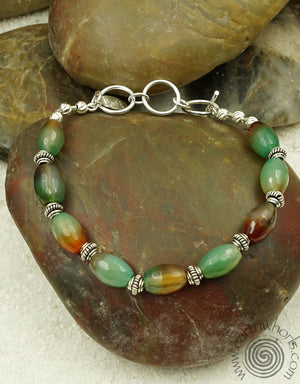 Agate & Sterling Silver Bracelet - EarthWhorls, LLC
