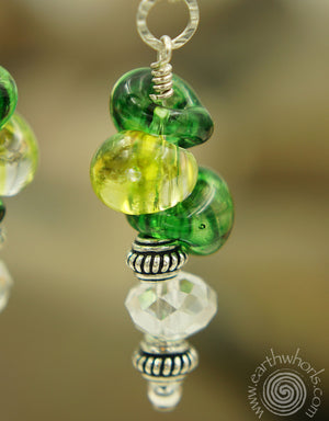 Handmade Glass, Crystal & Sterling Silver Earrings - EarthWhorls, LLC
