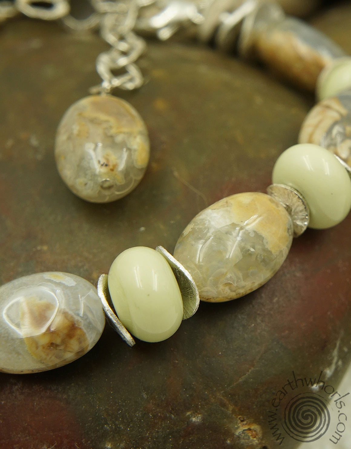 Chalcedony, Handmade Glass & Sterling Silver Earrings - EarthWhorls, LLC