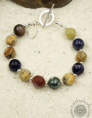 Mixed Stone & Sterling Silver Natural Stone Bracelet