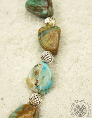 Turquoise & Sterling Silver, Natural Stone Necklace
